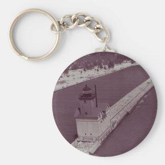 Holland Harbor Lighthouse Basic Round Button Keychain