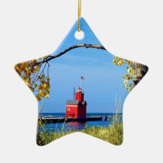 Holland Harbor Lighthouse Ceramic Ornament