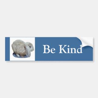 "Holland Lop Ear Rabbit ""Be Kind"" Bumper Sticker Car Bumper Sticker"