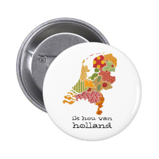 Holland Province Map Bohemian Patchwork Style Pinback Button