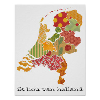 Holland Province Map Bohemian Patchwork Style Poster