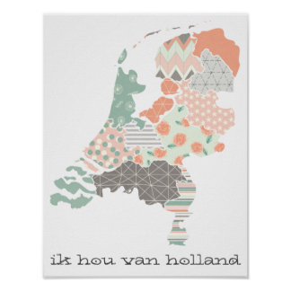 Holland Province Map Geometric Patchwork Style Poster
