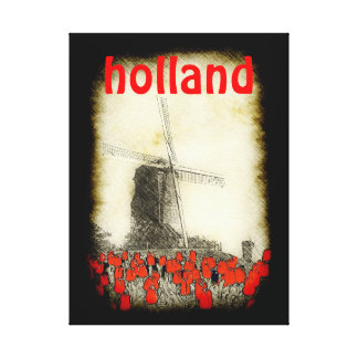 Holland Red Tulips Windmill Art Canvas Gallery Wrapped Canvas