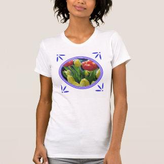 Holland Tulips Delft-Blue-Tile-Look T-Shirt