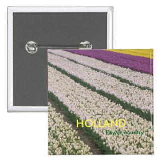 Holland Tulips Square Button
