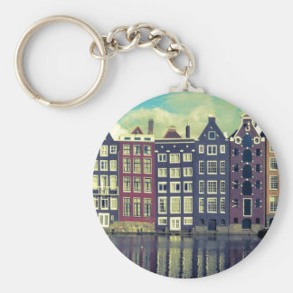 Holland vintage houses keychain