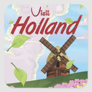 Holland vintage travel poster square sticker