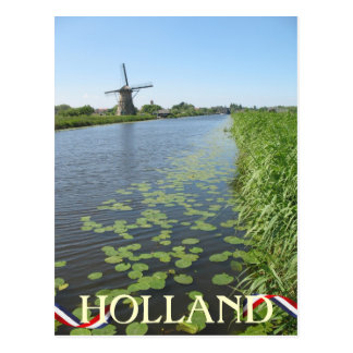 Holland Windmill along Canal Postcard