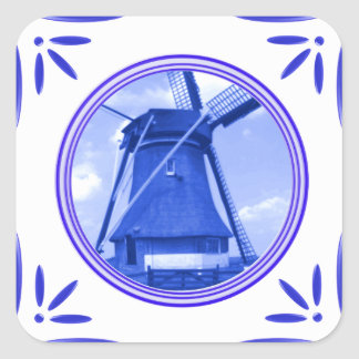 Holland Windmill Delft-Blue-Tile-Look Printed Square Sticker