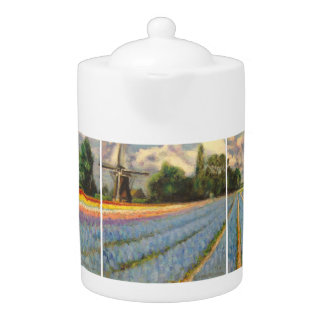 Holland Windmill Flower Fields Landscape Painting Teapot