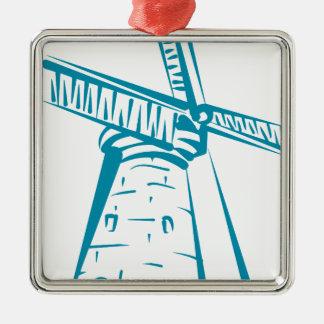 Holland Windmill in Blue Metal Ornament