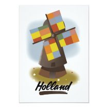 Holland windmill travel poster card