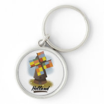 Holland windmill travel poster keychain