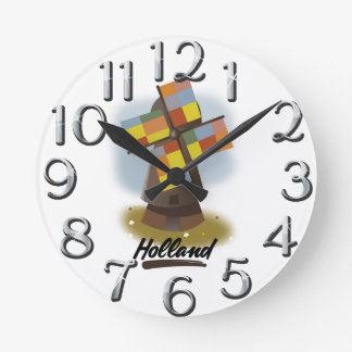 Holland windmill travel poster round clock