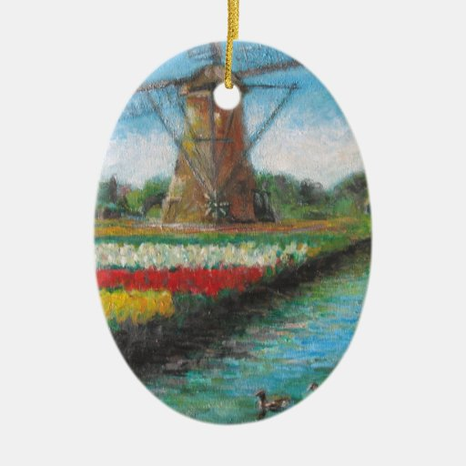 Holland Windmill Tulip Fields Painting Double-Sided Oval