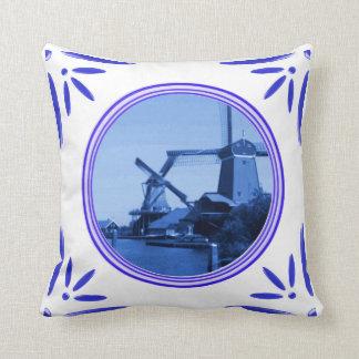 Holland Windmills Amsterdam Delft-Blue-Tile-Look Throw Pillows