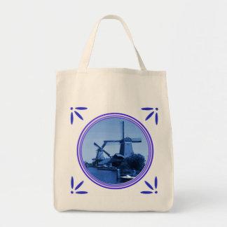 Holland Windmills Delft-Blue-Look-Tile Printed Tote Bag
