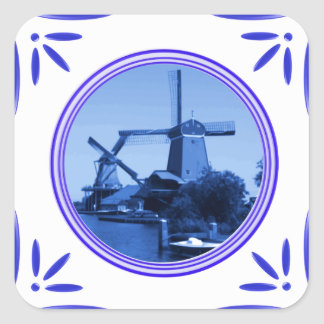 Holland Windmills Delft-Blue-Tile-Look Printed Square Sticker