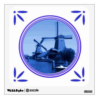 Holland Windmills Delft-Blue-Tile-Look Wall Sticker
