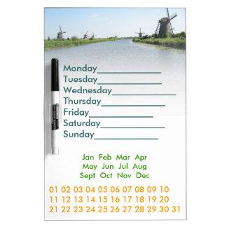 Holland Windmills Perpetual Calendar Dry-Erase Board