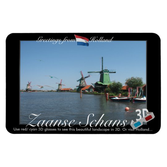 Holland Zaandijk Windmills 3D Red Cyan Anaglyph Magnet