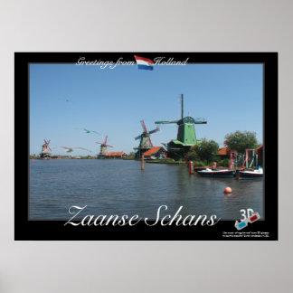 Holland Zaanse Schans Windmills 3D Anaglyph Poster