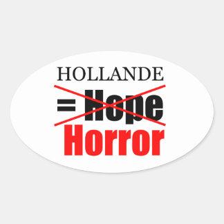 Hollande Not Hope = Horror - Oval Sticker