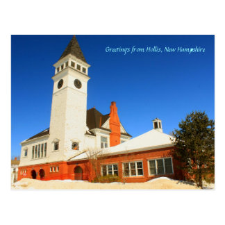 Hollis New Hampshire Town Hall Postcard