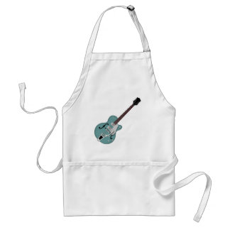 Hollow-bodied Electric Guitar bluegreen Adult Apron