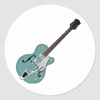 Hollow-bodied Electric Guitar bluegreen Classic Round Sticker