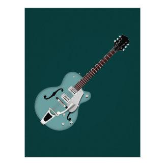 Hollow-bodied Electric Guitar bluegreen Letterhead Design