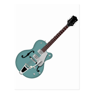 Hollow-bodied Electric Guitar bluegreen Postcard