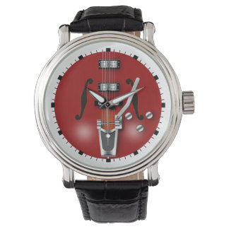 Hollow Body Red Guitar Wristwatch
