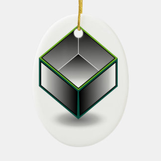 Hollow cube- an enclosed space with open top ceramic ornament