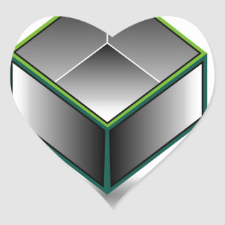 Hollow cube- an enclosed space with open top heart sticker