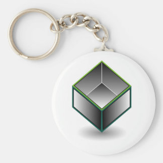 Hollow cube- an enclosed space with open top keychain