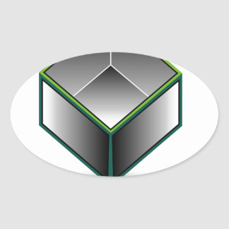 Hollow cube- an enclosed space with open top oval sticker