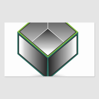 Hollow cube- an enclosed space with open top rectangular sticker