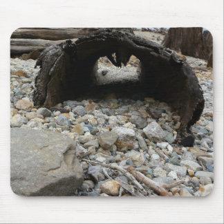 Hollow Log along Rocky Beach Mousepads
