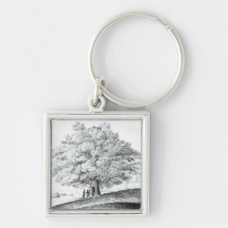 Hollow Tree at Hampstead, 1663 Silver-Colored Square Keychain