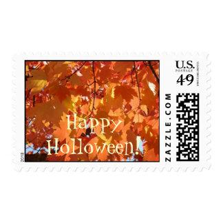 ¡Holloween feliz! hojas del naranja de los sellos
