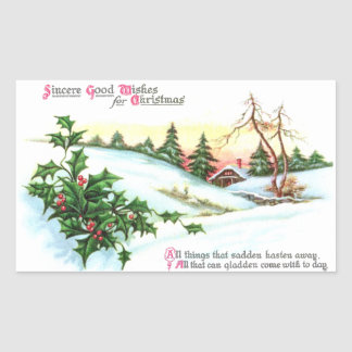 Holly and a House in the Hills Vintage Christmas Rectangular Sticker