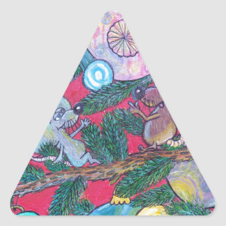 Holly and Angel Triangle Sticker