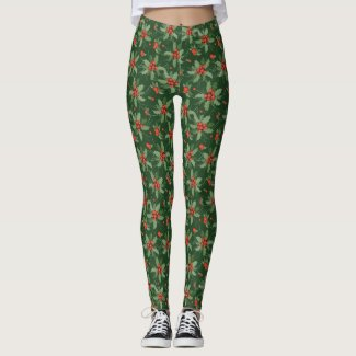 Holly and Berries All-Over Print Leggings