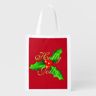 Holly and berries Christmas Reusable Grocery Bag
