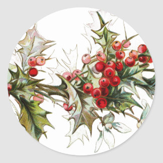 Holly and berries classic round sticker