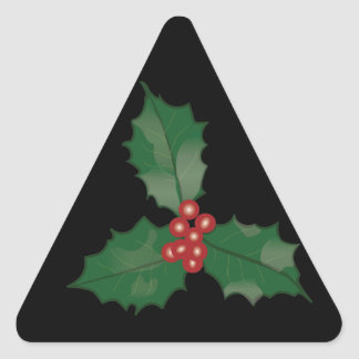 Holly and Berries on Black Triangle Sticker
