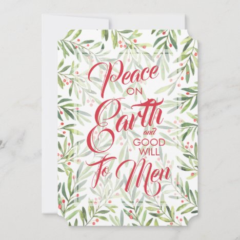 Holly and Berries Peace on Earth Christmas Holiday Card