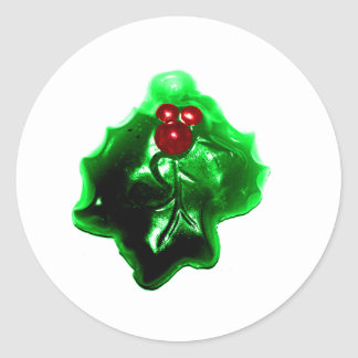 Holly and Berries Shaped Christmas Classic Round Sticker
