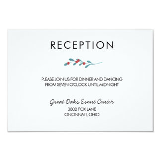 Holly and Berries Winter Wedding Reception Card